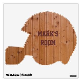 Wooden Graphic Football Helmet Wall Sticker