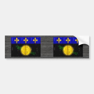 Wooden Guadeloupean Flag Car Bumper Sticker
