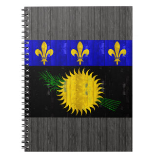 Wooden Guadeloupean Flag Spiral Note Book