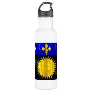 Wooden Guadeloupean Flag Water Bottle