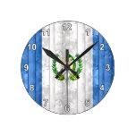 Wooden Guatemalan Flag Wall Clock