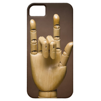 Wooden hand index and small finger extended, iPhone SE/5/5s case
