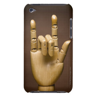 Wooden hand index and small finger extended, iPod touch cover