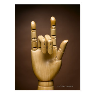 Wooden hand index and small finger extended, postcard