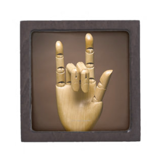 Wooden hand index and small finger extended, premium keepsake boxes