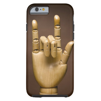 Wooden hand index and small finger extended, tough iPhone 6 case