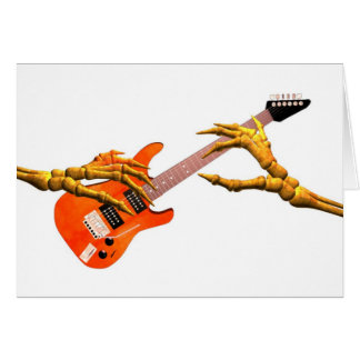 Wooden hands play electric guitar gift design card