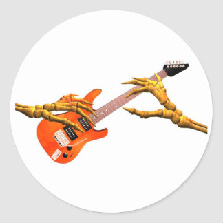 Wooden hands play electric guitar gift design classic round sticker