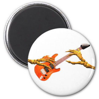 Wooden hands play electric guitar gift design magnet