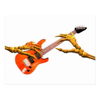 Wooden hands play electric guitar gift design postcard