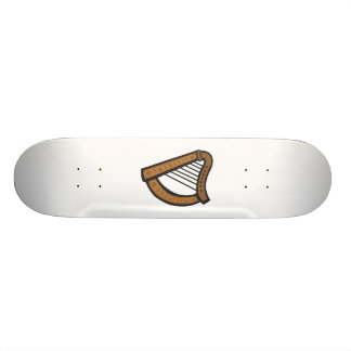 Wooden harp with engraved design skate board deck