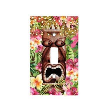 Wooden Hawaiian Tiki Luau Island Summer Floral Light Switch Cover
