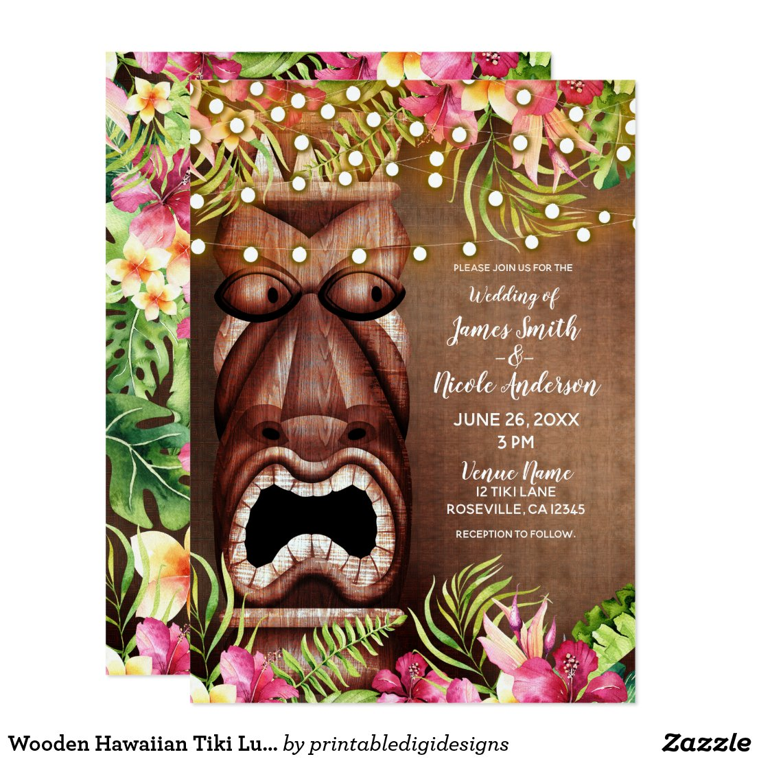 Wooden Hawaiian Tiki Luau Summer Beach Wedding Card
