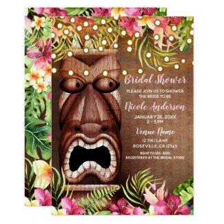 Wooden Hawaiian Tiki Luau Summer Bridal Shower Card