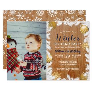 Wooden Holiday Photo Birthday Party Invitation