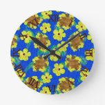Wooden Honu And Hibiscus Flowers Round Wallclocks