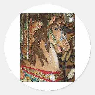wooden Horse Classic Round Sticker