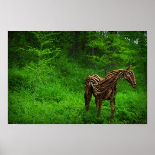 Wooden Horse Sculpture Poster