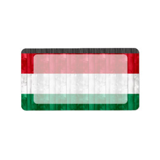 Wooden Hungarian Flag Label