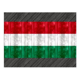 Wooden Hungarian Flag Postcard