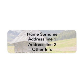 Wooden Hut In The Mountains, Landscape, Nature Label