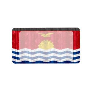 Wooden I-Kiribati Flag Personalized Address Label