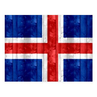 Wooden Icelander Flag Postcard