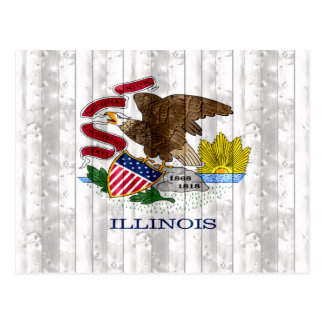 Wooden Illinoisan Flag Postcard