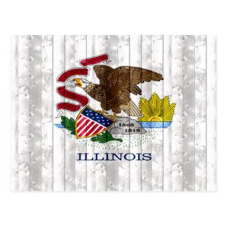 Wooden Illinoisan Flag Postcard