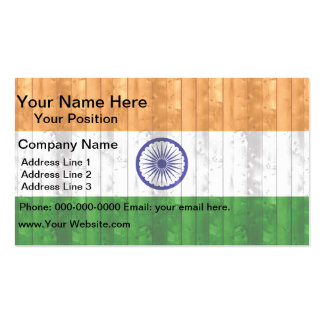 Wooden Indian Flag Business Card Templates