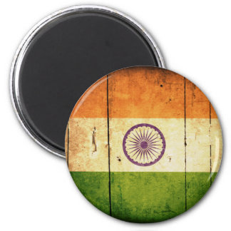 Wooden Indian Flag 2 Inch Round Magnet