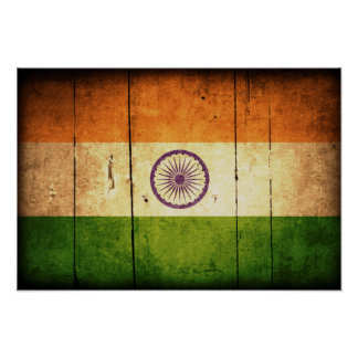 Wooden Indian Flag Poster