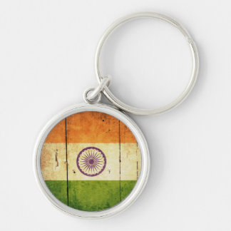 Wooden Indian Flag Silver-Colored Round Keychain