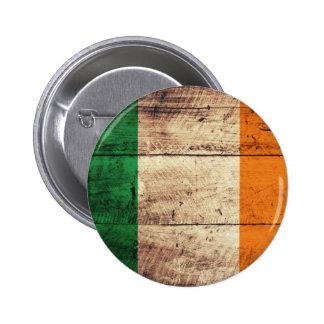Wooden Ireland Flag 2 Inch Round Button