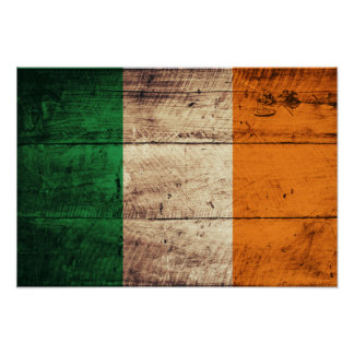 Wooden Ireland Flag Poster
