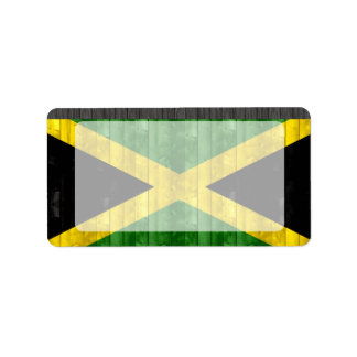 Wooden Jamaican Flag Address Label