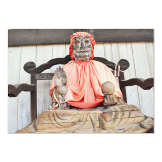 Wooden Japanese Statue Invitation