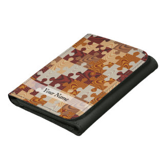 Wooden jigsaw puzzle leather tri-fold wallet