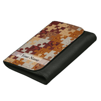 Wooden jigsaw puzzle wallets for women