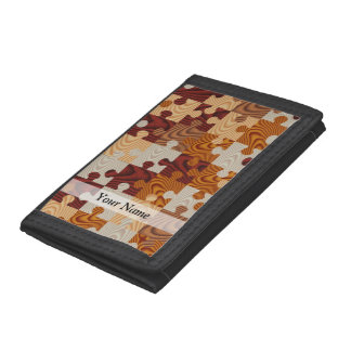 Wooden jigsaw puzzle tri-fold wallets