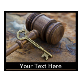 Wooden Judge's Gavel and brass Key with copy space Poster