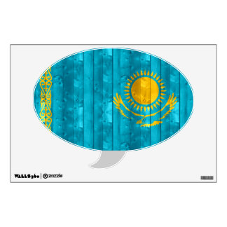 Wooden Kazakhstani Flag Wall Sticker