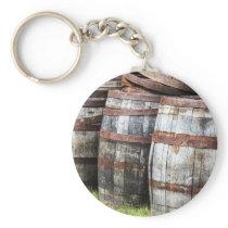 Wooden Keg Barrels Keychain