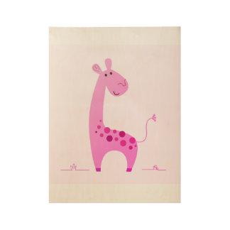 Wooden kids room Poster : pink Giraffe