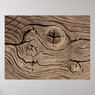 Wooden Knots Faux Texture Poster