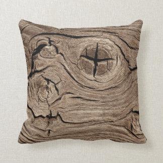 Wooden Knots Faux Texture Throw Pillow
