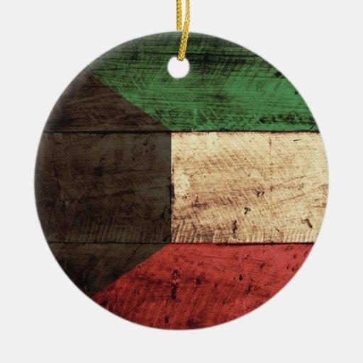 Wooden Kuwait Flag Christmas Tree Ornaments