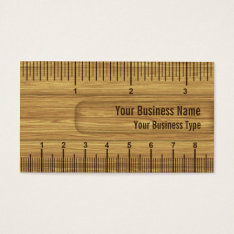 Wooden Look Ruler / Rule Construction Or Carpenter Business Card at Zazzle