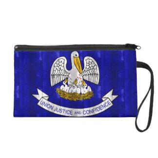 Wooden Louisianan Flag Wristlet Clutch