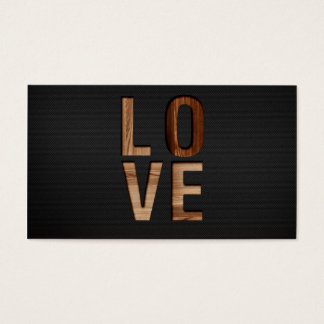 Wooden Love Typography Image Print Business Card